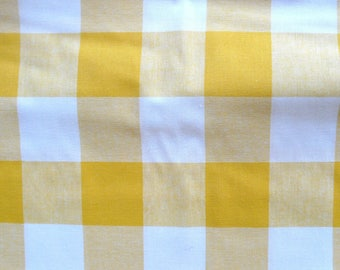 CLEARANCE - Yellow and white cotton fabric - 1 metre