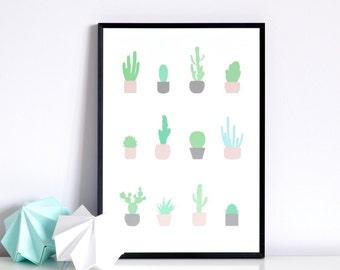 Mint Cacti print
