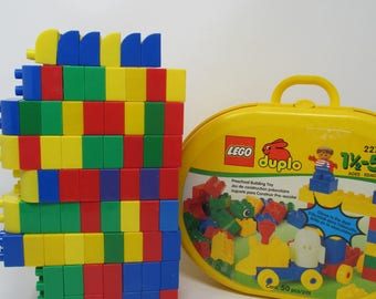 Lego Duplo Block lot of over 100 pieces in yellow carrying case!