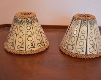 Two Vintage Original Ethnic Tribal Lamp Shade Hand & Designed Cut Bone or Horn and Wood Beads