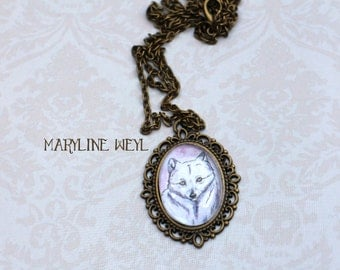 Necklace bronze glass Cabochon polar Fox
