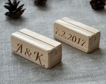 12 Personalized Wood Table Number Holders for Wedding and Party, Custom Rustic Table Number Holder, Restaurant Table Number Holder