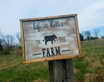 Farmhouse life is better on the farm 12x15in wooden sign with frame