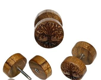 Fake motif wooden plug piercing stainless steel tree of life (OHP-192-6)