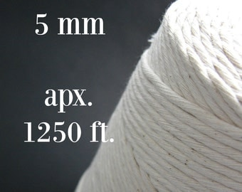 Macrame cotton cord apx 5mm cotton twine. Macrame yarn. Cotton cord. Modern macrame craft Untreated macrame cord Macrame twine Cotton thread