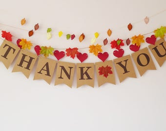 Thank you bunting for a wedding , engagement, birthday, baby shower, autumn, fall
