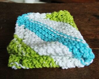 Handmade Cotton Dish Cloth  - Knit Wash Cloths - Bath Shower - Blue Green Stripe - Ready to Ship
