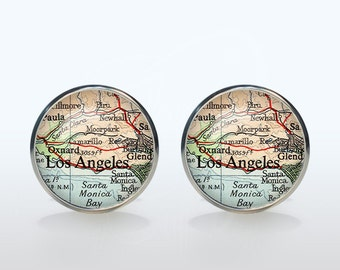 Los Angeles map Cufflinks Silver plated Los Angeles vintage map Cuff links men and women Accessories Antique black brown red green