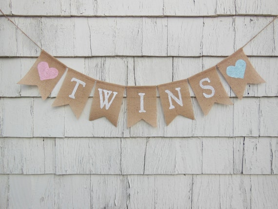 Twins banner twins bunting twins baby shower banner twins for Baby shower decoration ideas for twin boys