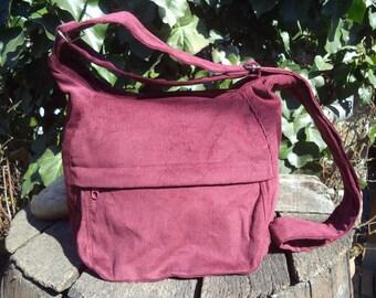 Claret corduroy shoulder bag,zippered bag