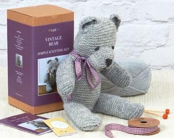Vintage Bear - Simple Knitting Kit