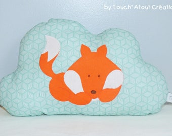 TO order - Mini cloud Fox pillow - Mint green snowflakes light