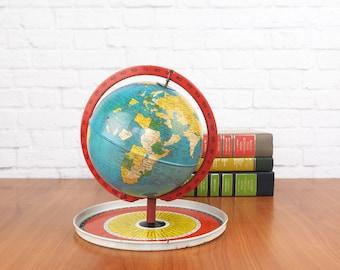 Vintage Tin Litho Globe Game, 1960's Replogle Globe
