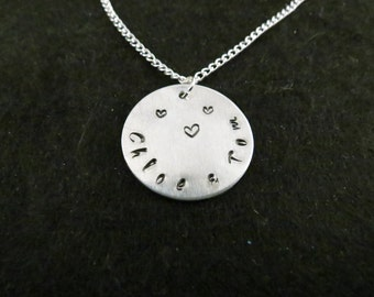Hand stamped names and heart on a chain (curved style)