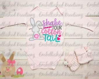 Easter/'Shake Your Cotton Tail' with Bunny/Hearts/Dots HTV Decal/Easter DIY/Easter Onesie/Bodysuit/Shirt/Easter Photos