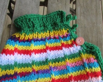 Hot water bottle cover handmade, kiwi wool, maximum colour and warmth. Kiwi cosy comforter, cover for hot water bottle.Woollen warmer,cute.