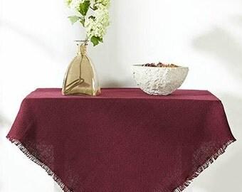 """Burlap Tablecloth - Coloured Burlap Table Cloths - 52"""" x 52"""" - Rustic Burlap Tablecloths - Wedding Tablecloths - see colors"""