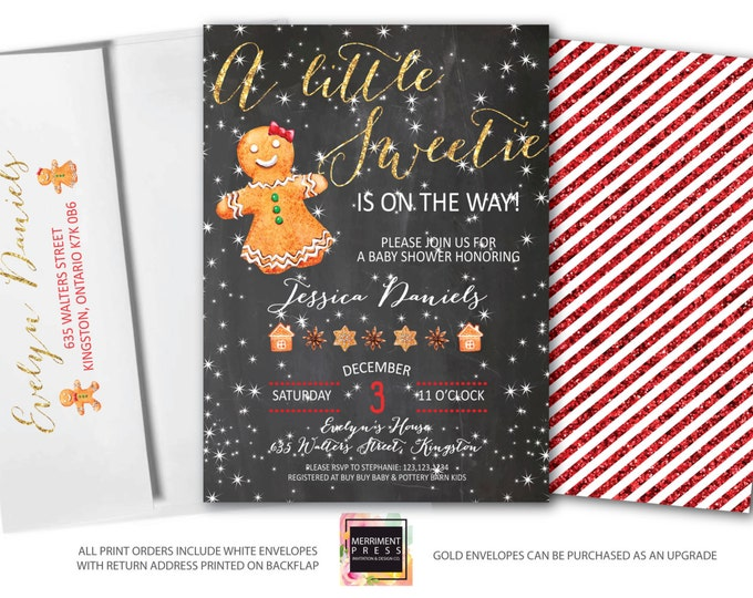 Gingerbread Baby Shower Invitation // Christmas Baby Shower Invitation // Gingerbread Cookie // Chalkboard // Holiday // KINGSTON COLLECTION