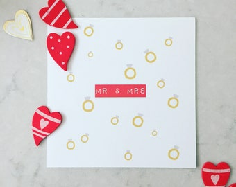 Mr & Mrs Wedding Rings Card