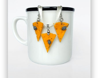 Cheese and Mouse Jewelry Set,Cheese and Mouse Earrings,Cheese and Mouse Necklace,Cheese and Mouse Pendant,Cheese and Mause Dangle Earrings