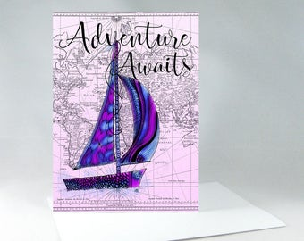 Sailboat Art, Adventure Awaits, Adventure Quote, Adventure Awaits Sign, Adventure Map, Adventure Time, Vintage Map Art, Travel Sign 1122A