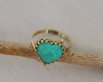 EASTER GIFTS, Chrysoprase Ring, Heart Shaped Ring, Crown Ring, Green Ring, Unique Rings, Heart Ring, Big Stone Ring, Gold Stone Ring, Gifts