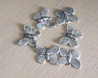 Butterfly Charms, 10 Antique silver plated pewter butterfly charms, silver plated butterfly charms