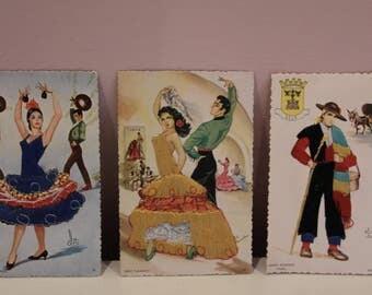 Embroidered Vintage Spanish Postcards