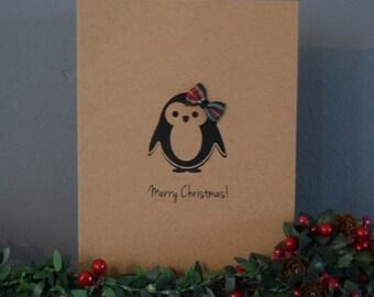 Plaid Penguin Christmas Card - Merry Christmas - Penguin Cards - Holiday Cards - Handmade Card - Personalised Card - Simple Christmas Card