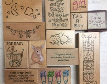 Baby Birth Announcement Shower Themed Crafting Rubber Stamps