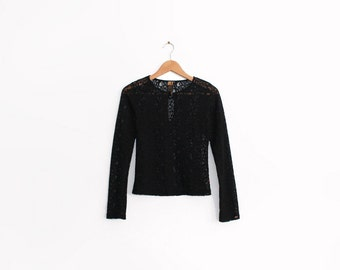 Vintage black lace long sleeve top with open keyhole at front