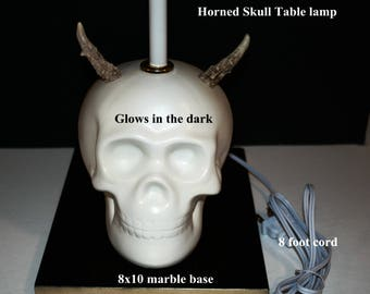 Unique 1 of a kind  Glow in the dark Horned Skull Table Lamp