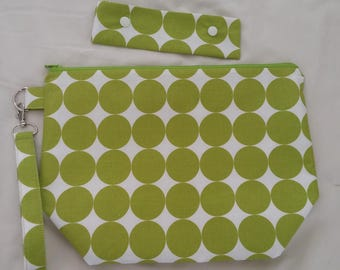 Lime Dots Project Bag & Needle Keeper