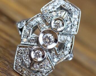 14k White Gold Art Deco Inspired .80 ctw Diamond Ring
