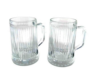 Vintage Crystal Beer Mugs |  Set of 2 Crystal Drinking Glasses |  Vintage 1970s Verticle Cut Beer Steins