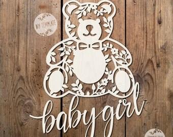 Flower Teddy Baby Girl SVG PDF Design - Papercutting Vinyl Template - paper cut template -  teddy papercut - baby template