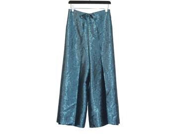 1990s vintage blue silk pants 90s silk trousers - vintage clothing