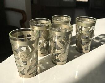 Vintage Shot Glasses glass & metal set of 5