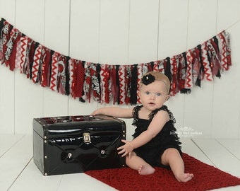 Red Fabric Garland - Ladybug Theme Photo Prop - Red and Black Backdrop - Ladybug Baby Shower