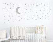 Mond und Sterne Aufkleber - Stern Aufkleber - Kinder Wand Dekoration - Baby-Raum-Aufkleber - Kinderzimmer Wand Aufkleber - Vinyl-Aufkleber - Wandtattoo für Kinderzimmer