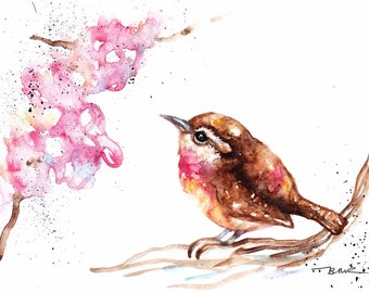 Original Watercolour Wren and Blossom Print by Artist Be Coventry Wildlife Animal Art