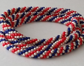 Beautiful Vintage Faux Seed Pearl Beads Classic USA Patriotic Endless Infinity Beaded Torsade Rope Necklace