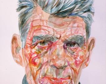 SAMUEL BECKETT - original watercolor portrait - one of a kind!