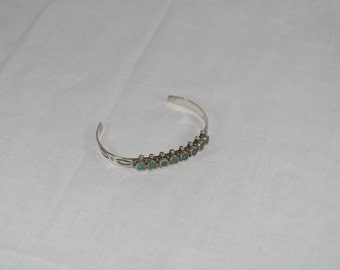 Vintage Native American Turquoise Sterling Silver Cuff Bracelet
