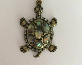 Gorgeous Beaded Crystal Turtle Pendant and Chain