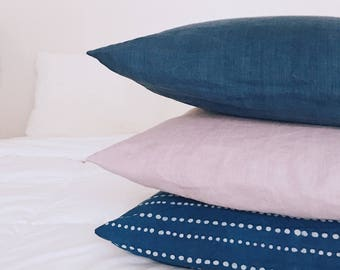 Indigo Block Print Pillow Covers | European Linen Throw Pillow Cover