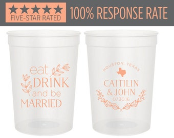 Personalized Stadium Cups 16oz,Eat Drink and Be Married Wedding Stadium, Wedding Stadium Cups, Party Stadium Cup, Custom Drinking Cups (11)