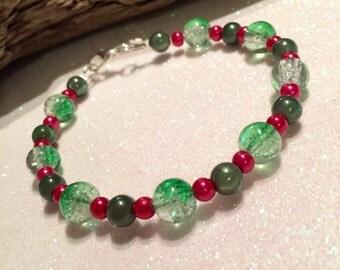 SALE,Mixed green,cerise pink bracelet,UK shop,Ready to ship,Unique bracelet,jewellery,jewelry,Gift bag