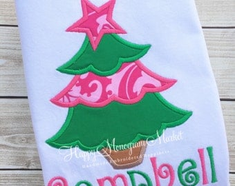 Green Pink Scallop Christmas Tree Star Holiday Top Shirt TShirt Bodysuit Applique Pictures with Santa First Christmas Bright Girly Tree