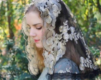 Evintage Veils~Traditional D Shape Gold &  Black Lace Mantilla Chapel Veil Classic D Shape